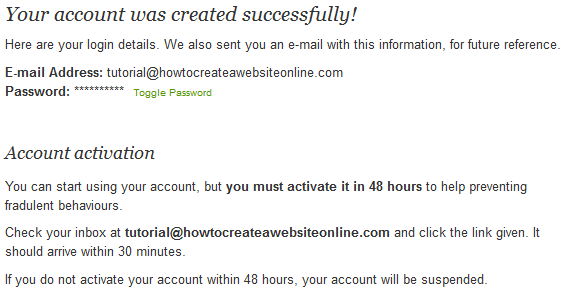 Account Created Email Confirm