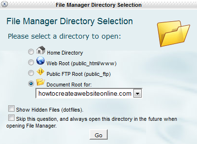 File Manager Pop Up