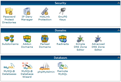 Security Domains Databases cPanel